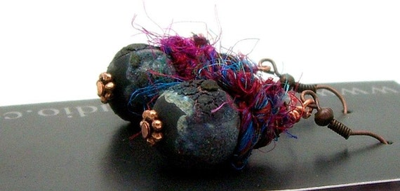 Mixed Media Raku and Fiber Earrings Jewelry Handmade     by MAKUstudio