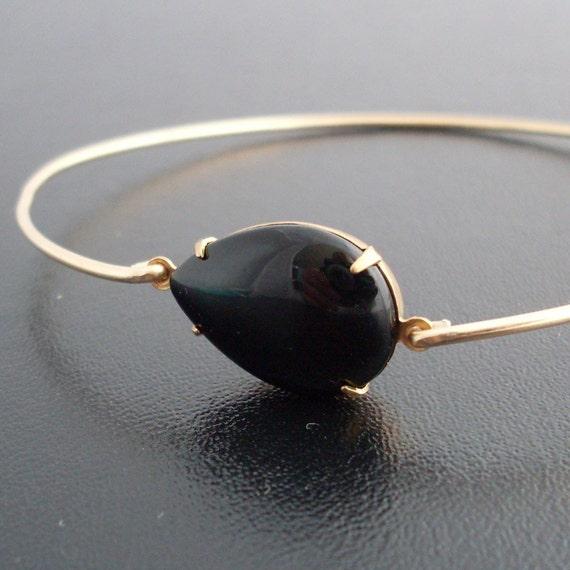 Bangle Bracelet Alexandra - Gold Tone, Black Stone