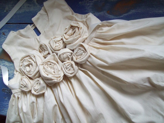 Roses ... Natural Flower Girl Dress Custom Made