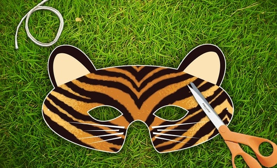 Tiger Halloween or Party Mask  Printable PDF by theRasilisk from etsy.com