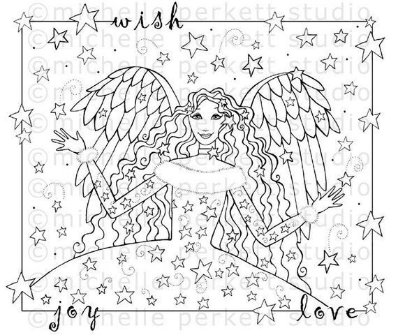 DIGITAL STAMP - WISHING STAR ANGEL