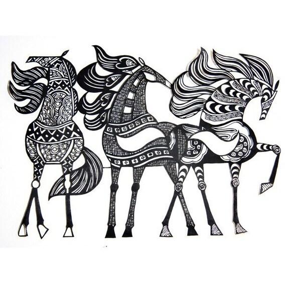 Papercuts-cutouts-handcuts-my modern horses