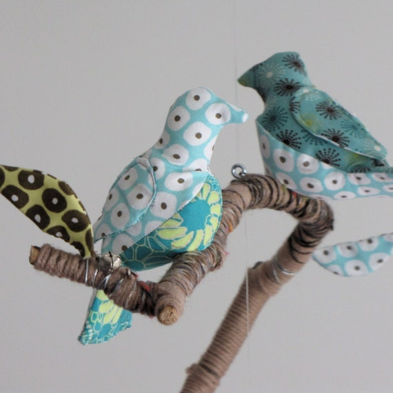 CUSTOM 5 little birds fly away home - fabric mobile on yarn wrapped branches
