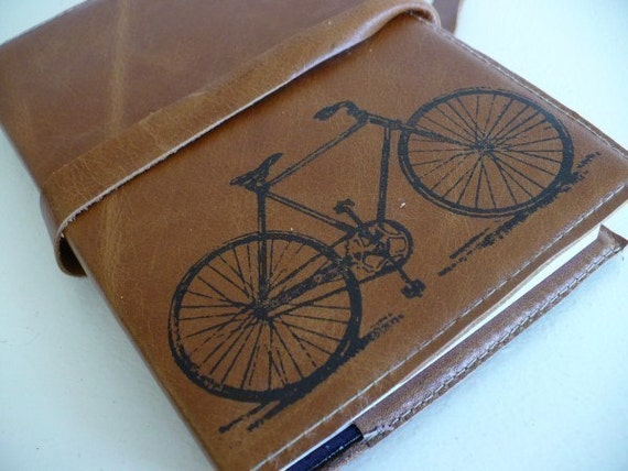 leather journal sketchbook handprinted for you custom bicycle
