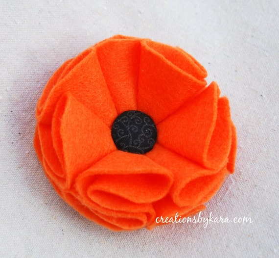 SALE- Felt Flower Hair Clip -Halloween orange and black