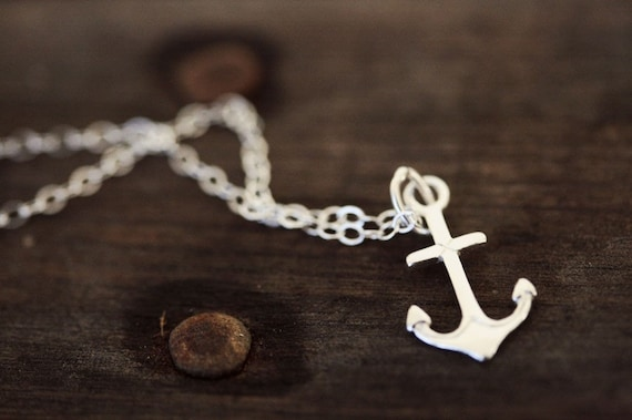 Weekend SALE Sterling Silver Anchor Necklace