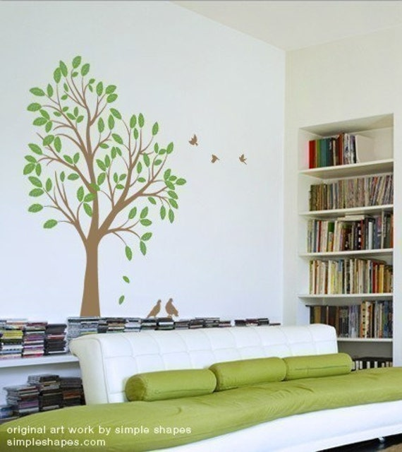 Large Tree with Birds Decal  - Vinyl Wall Sticker
