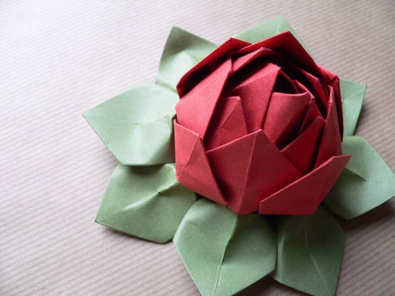 Origami Lotus Flower Decoration or Favor // Persimmon and Moss