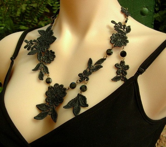 Black Lace Necklace with Black Onyx Faceted Disc Beads