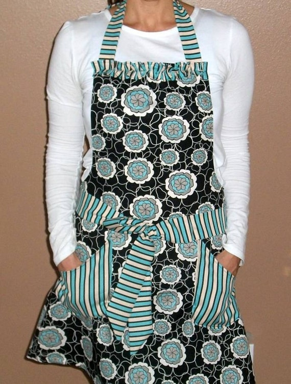 Stylish Black and Blue Floral Apron