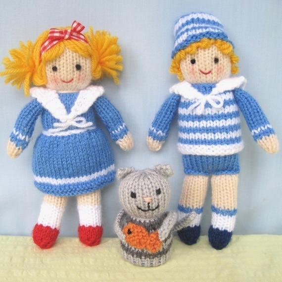 3 SHIPMATES نشاط -- سالی ، سام و چلپ چلوپ کردن گربه -- اف عروسک ایمیل بافندگی الگوی