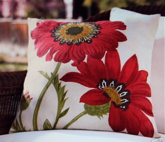 Poppy Red 20x20 Indoor Outdoor Pottery Barn Floral Fabric Pillow Cover