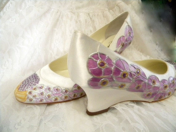 Shoes Bridal Wedding Event Party painted Peacock Feathers satin wedge, PURPLE JEWEL Size 10