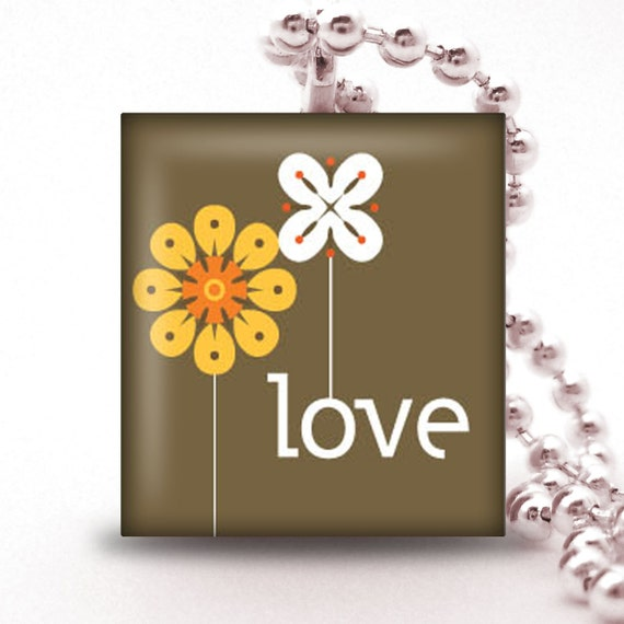 Scrabble Tile Pendant   - LOVE - Buy 2 Pendants Get 1 Free