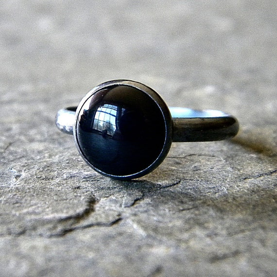 Black Onyx  and Oxidized Sterling Silver Ring - Made to Order - Blackout