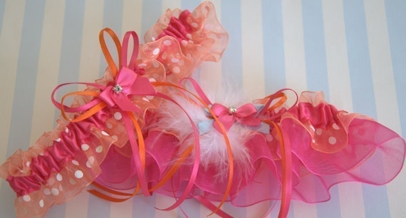 Summer Vibrant in Hot Pink and Orange with White Polka Dots Sublime Garter Set