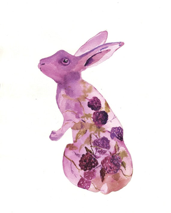 BUNNY Art - Blackberry Patch Bunny Fine Art Print - 8x10 - BUY today SHIP today