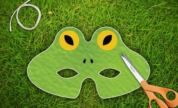 Frog Halloween or Party Mask  Printable PDF by theRasilisk on Etsy from etsy.com