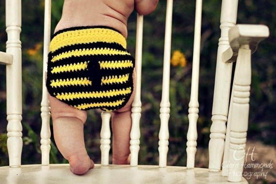 Bee Mine hat and diaper cover crochet pdf pattern