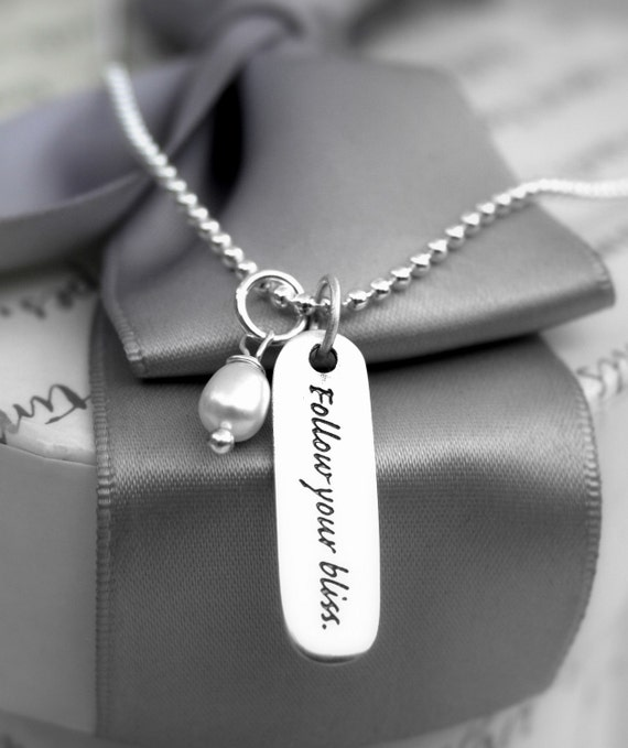 Follow your Bliss Sterling Silver engraved tag necklace