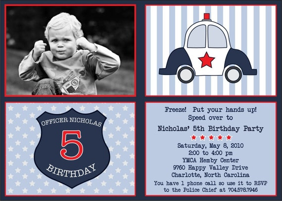 Police Man Officer Birthday Party Invitation - Custom and Personalized with or without photo