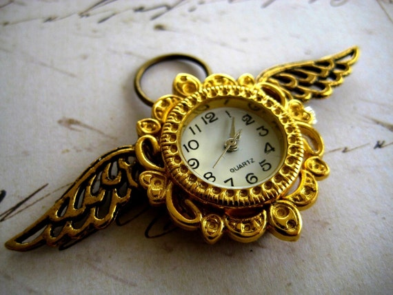 Gold Winged Steampunk Watch Pendant