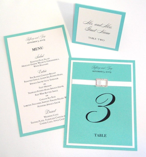 TIFFANY COORDINATING ITEMS, MENU, TABLE NUMBER, PLACE CARDS, PROGRAM SAMPLE SET