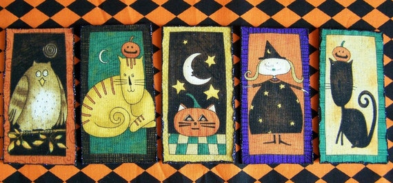 Set of 5 Primitive Halloween Magnets