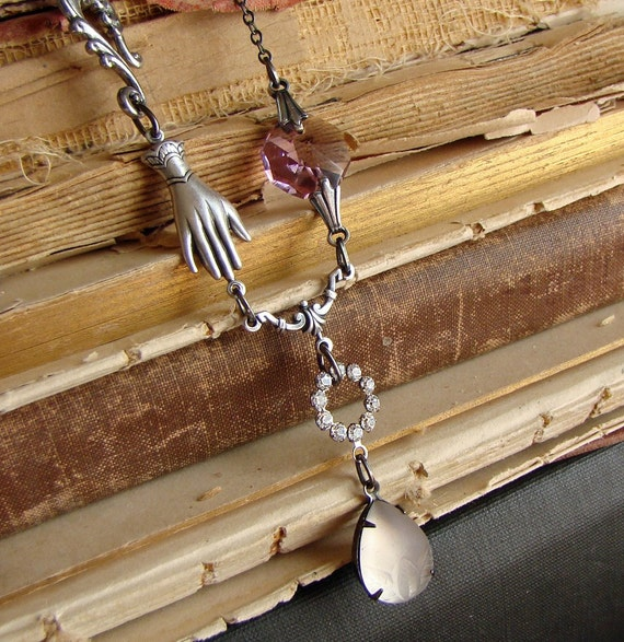 Lilac Contraption - Neo-Victorian Asymmetrical  Silver Necklace