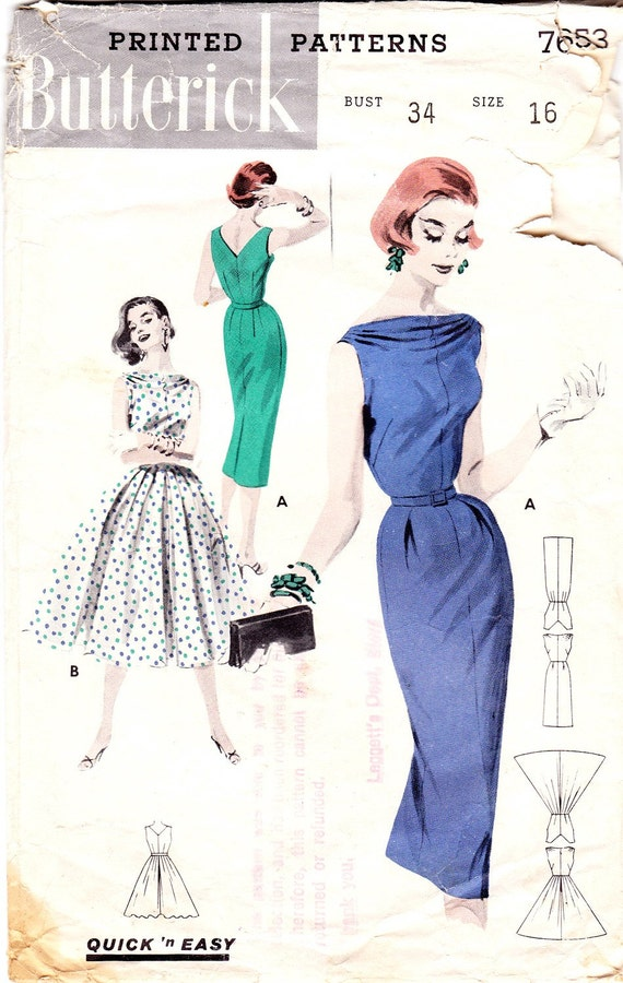 1950s Dress Bateau Neckline  by Butterick (Pattern 7653)
