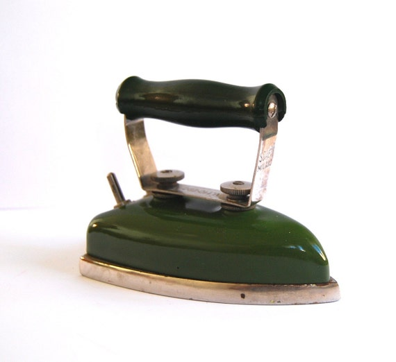 Antique tiny traveling iron Milano Italy deep green by spacejam from etsy.com