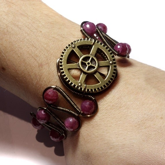 Steampunk Jewelry - Bracelet - Ruby