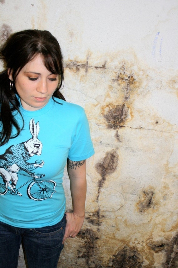 Alice in Wonderland's White Rabbit on a Bicycle - American Apparel Aqua TShirt - Available in XS, S, M, L and XL - FREE SHIPPING