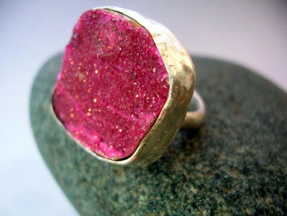 Pink dolomite and sterling silver ring