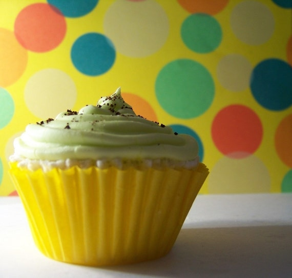 Mint Chocolate Chip Cupcake Bath Bomb Mini in a box -- green and brown cute low (no) calorie gift for him or her