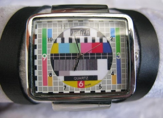 Handmade square bracelet silver watch with a black real leather band with a lovely old television tv pattern worldwide free shipping