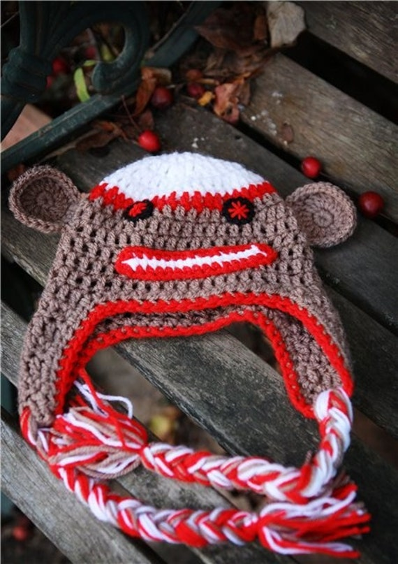 Crochet Brown and Red Sock  Monkey earflap beanie hat