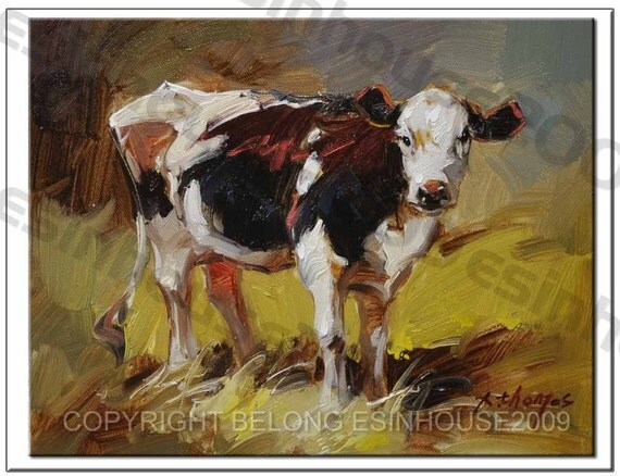 cow painting original oil art 8 x 10 abstract western animal X.Thomas