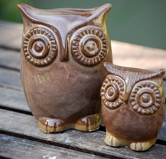 handmade ceramic owl And owlet figurines - mom and child in sandy brown fast shipping