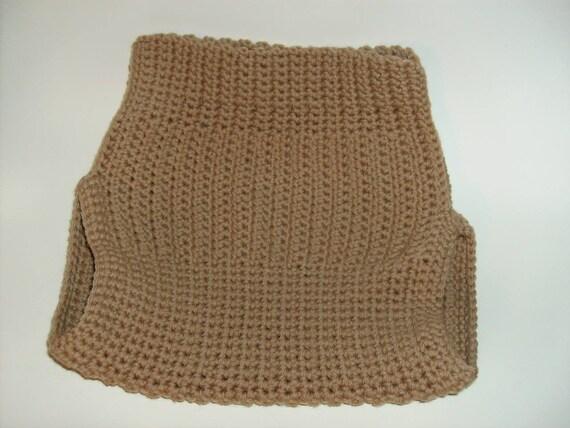 Hand crocheted merino wool soaker, nutmeg