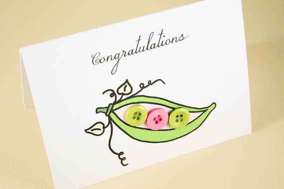 Peas in a Pod Pink Congratulations card, OOAK