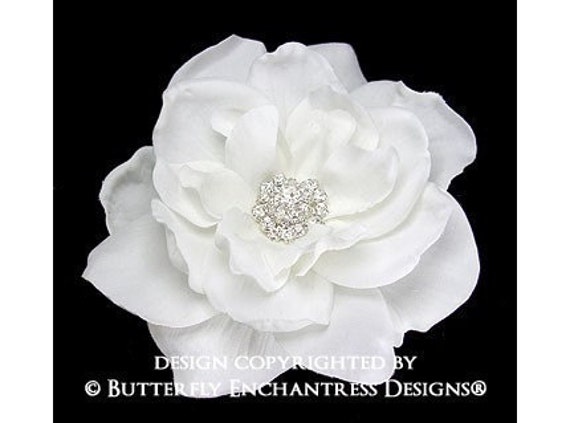 Crystal Rhinestone White Sandrinne Gardenia Mini Bridal Hair Flower