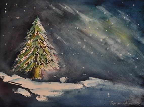 Christmas tree in snow w/northern lights - original watercolor