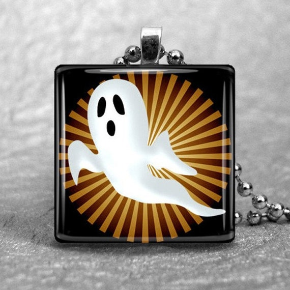 Glass Pendant 1 Inch Square--Ghost on Orange and Black