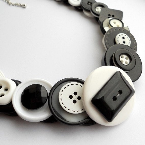 Large Button Necklace - Monochrome (Free UK Shipping)