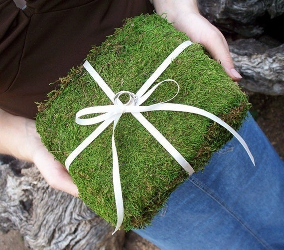Natural Moss Wedding Ring Bearer Pillow
