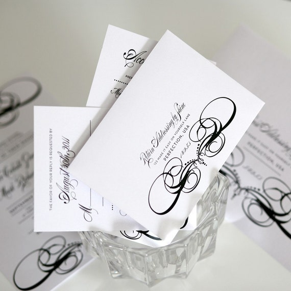 French Decadence Wedding Invitations Sample in Black and White on Pearl Shimmer Luxury Cardstock