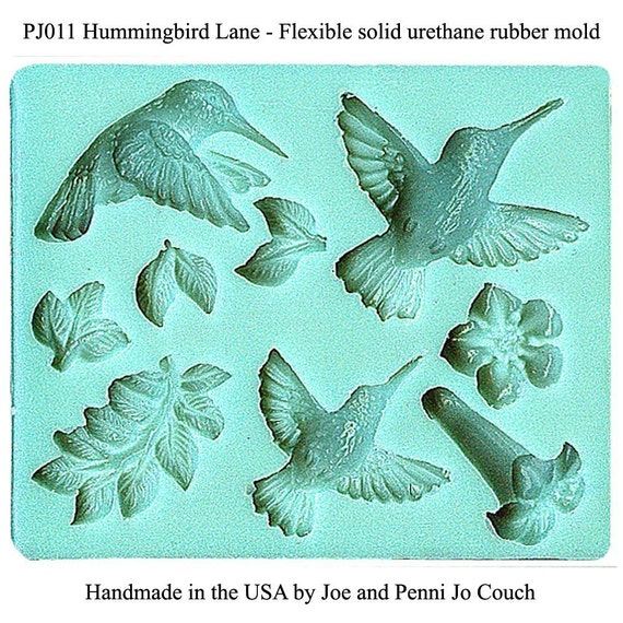 PJ011 Hummingbirds and Trumpet Vine Polymer clay mold