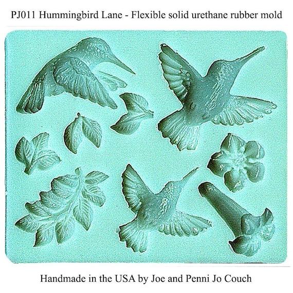 PJ011 Hummingbirds and Trumpet Vine Polymer clay mold