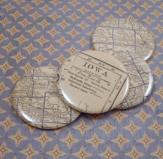 Iowa Magnets, Vintage 1920s Atlas, set of 4